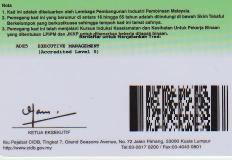 Kad Hijau Green Card Oleh Cidb Www Hafizalramli Com